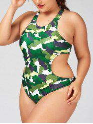 One Piece Plus Size Camo Racerback Swimsuit