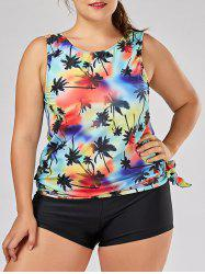 Tropical Palm Tree Plus Size Tankini Set