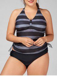 Plus Size Padded Striped Tankini Set