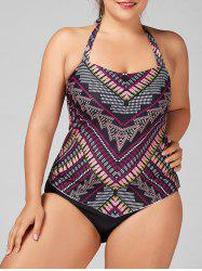 Plus Size Halter Tribal Print Tankini Set