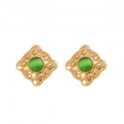 Faux Emerald Engraved Geometric Stud Earrings
