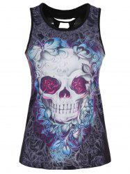 Skull Print Cut Out Racerback Tank Top - BLUE + PURPLE