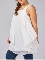 Plus Size Beaded Layered Ruffle Chiffon Flowy Tank Top - White - 5xl