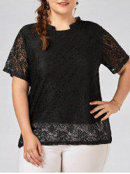 Plus Size Transparent  Lace Blouse