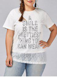 Plus Size Smile Letter Graphic Lace T-shirt