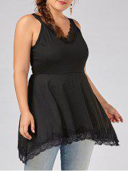 V Neck Plus Size Lace Trim  Swing Tank Top