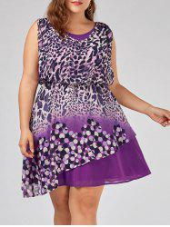 Robe sans manches taille taille imprimé taille grand