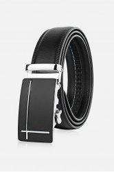 Polished Perpendicular Line Automatic Buckle Wide Formal Belt