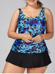 Cheetah Plus Size Skirty Tankini Set - BLUE