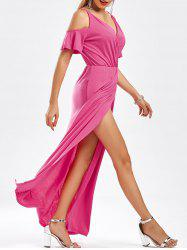 Slit Floor Length Cold Shoulder Dress