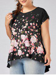 V Neck Cut Out Floral Plus Size Top