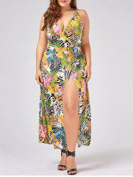 Halter Neck High Slit Plus Size Hawaiian Dress