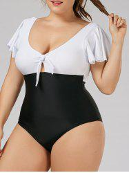 Two Tone Backless Plus Size Swimsuit