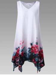 Plus Size Floral Sleeveless Handkerchief Dress - WHITE
