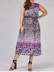 Plus Size Cowl Neck Leopard Dress