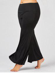 Plus Size Maxi High Rise Palazzo Pants - BLACK