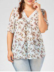 Plus  Size Deep V Neck Chiffon Floral Top with Lace Trim