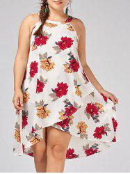 Floral Overlap Plus Size Tent Dress - White - 3xl