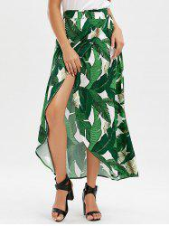 High Slit Tropical Leaf Print Wrap Skirt