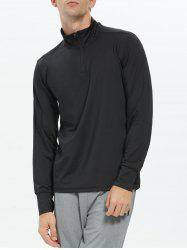 Half Zip Stand Collar Long Sleeve Top