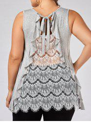 Ruffle Trim Lace Panel Plus Size Top - GRAY