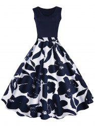 High Waisted Printed Vintage Dress - CERULEAN