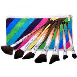 7Pcs Mermaid Makeup Brushes Set With Stripes Brush Bag