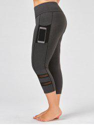 Plus Size High Waist Fitness Leggings with Mesh Panel -