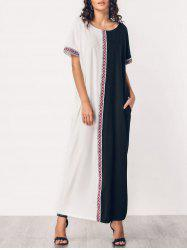 Two Tone Embroidered Panel Maxi Dress -