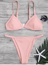 Spaghetti Straps String High Cut Two Piece Swimsuit -