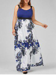 Floral A Line Maxi Plus Size Prom Dress -