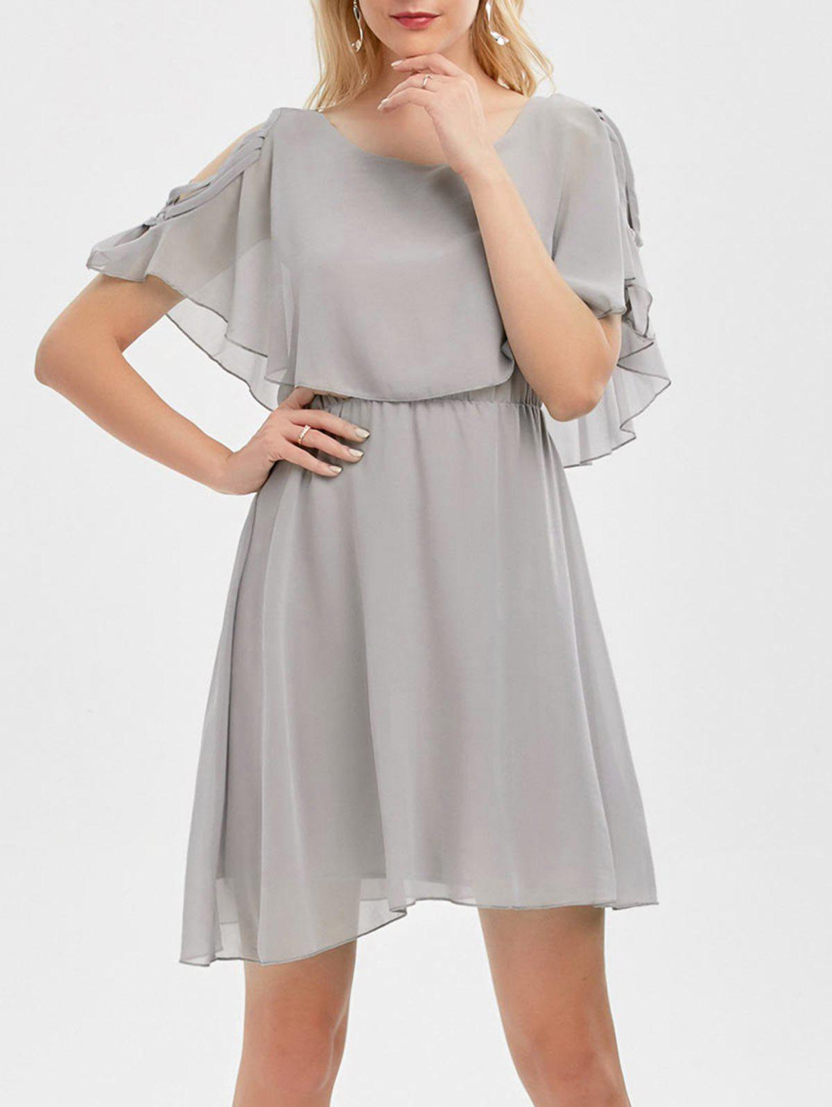 Trendy Ruffle Overlay Chiffon Cold Shoulder Dress