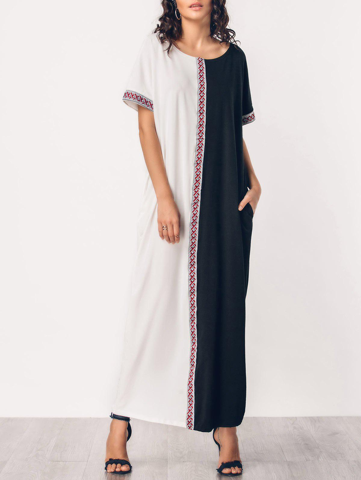 Discount Two Tone Embroidered Panel Maxi Dress