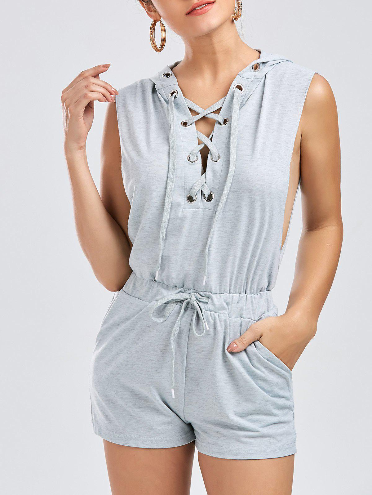 Cheap Hooded Drawstring Lace Up Playsuit