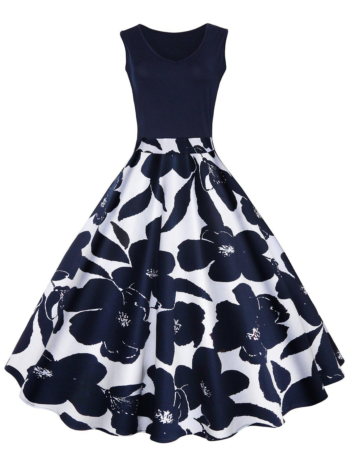 High Waisted Printed Vintage DressWOMEN<br><br>Size: M; Color: CERULEAN; Style: Vintage; Material: Cotton,Polyester; Silhouette: A-Line; Dresses Length: Mid-Calf; Neckline: V-Neck; Sleeve Length: Sleeveless; Pattern Type: Floral,Polka Dot; With Belt: No; Season: Summer; Weight: 0.3500kg; Package Contents: 1 x Dress;