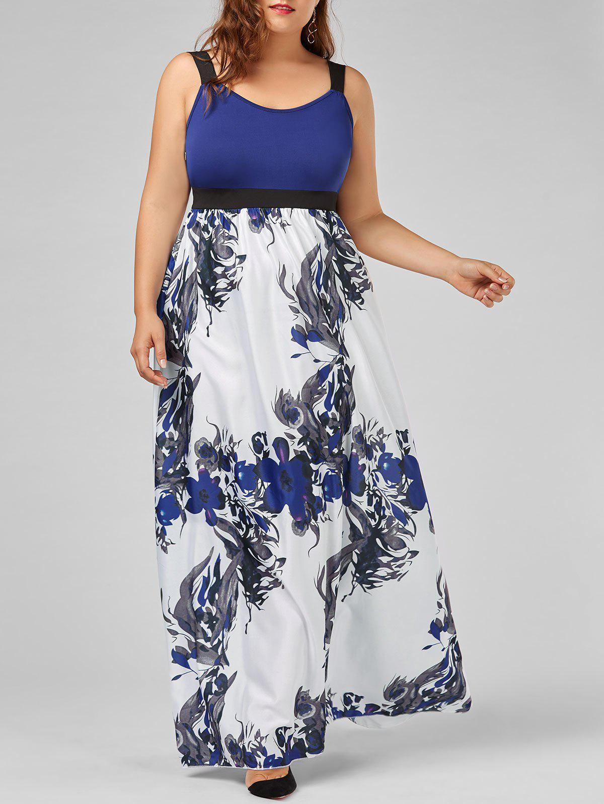 Store Floral A Line Maxi Plus Size Prom Dress