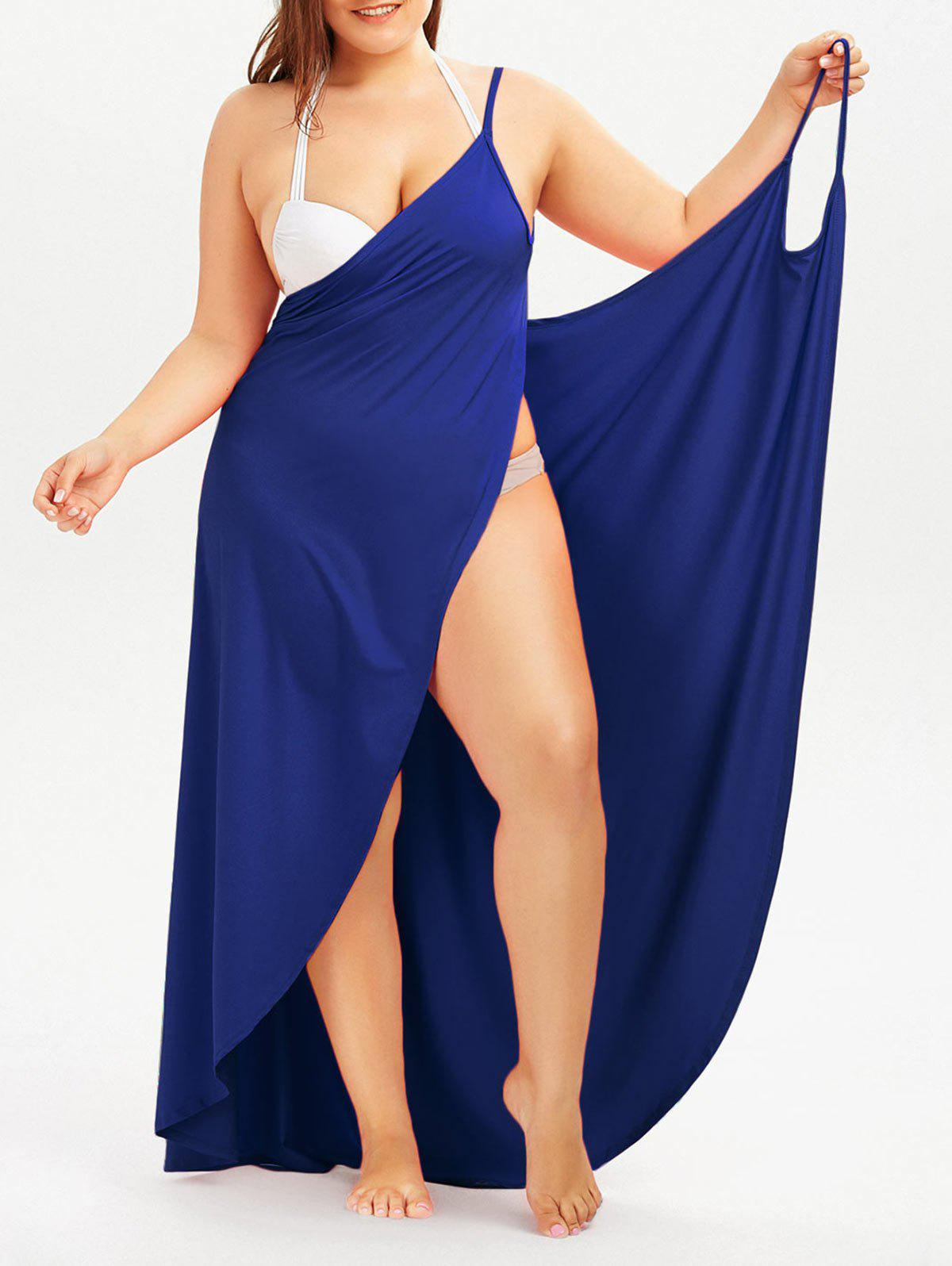 Plus Size Cover Up Beach Wrap DressWOMEN<br><br>Size: 5XL; Color: ROYAL; Style: Casual; Material: Polyester,Spandex; Silhouette: Beach; Dresses Length: Floor-Length; Neckline: Spaghetti Strap; Sleeve Length: Sleeveless; Waist: Natural; Pattern Type: Solid Color; Elasticity: Elastic; With Belt: No; Season: Summer; Weight: 0.4100kg; Package Contents: 1 x Dress;