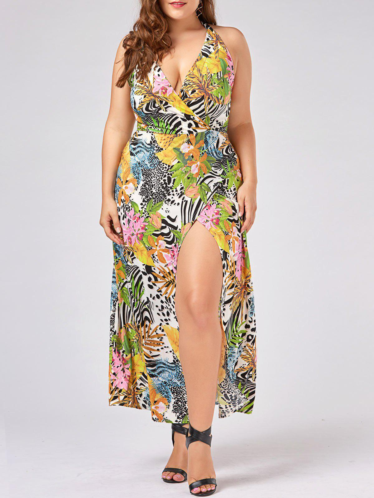 64% OFF] Halter Neck High Slit Plus Size Hawaiian Dress | Rosegal