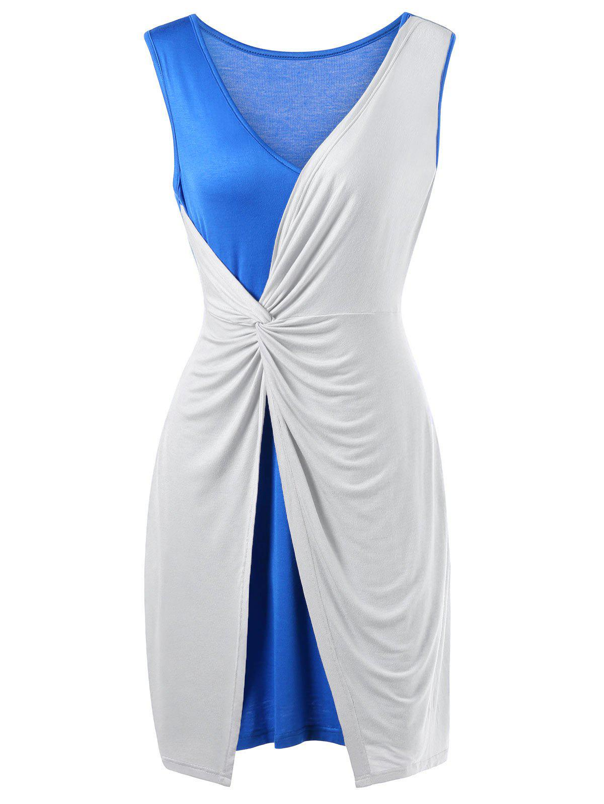 Latest Two Tone Twist Front Plus Size Sleeveless Dress