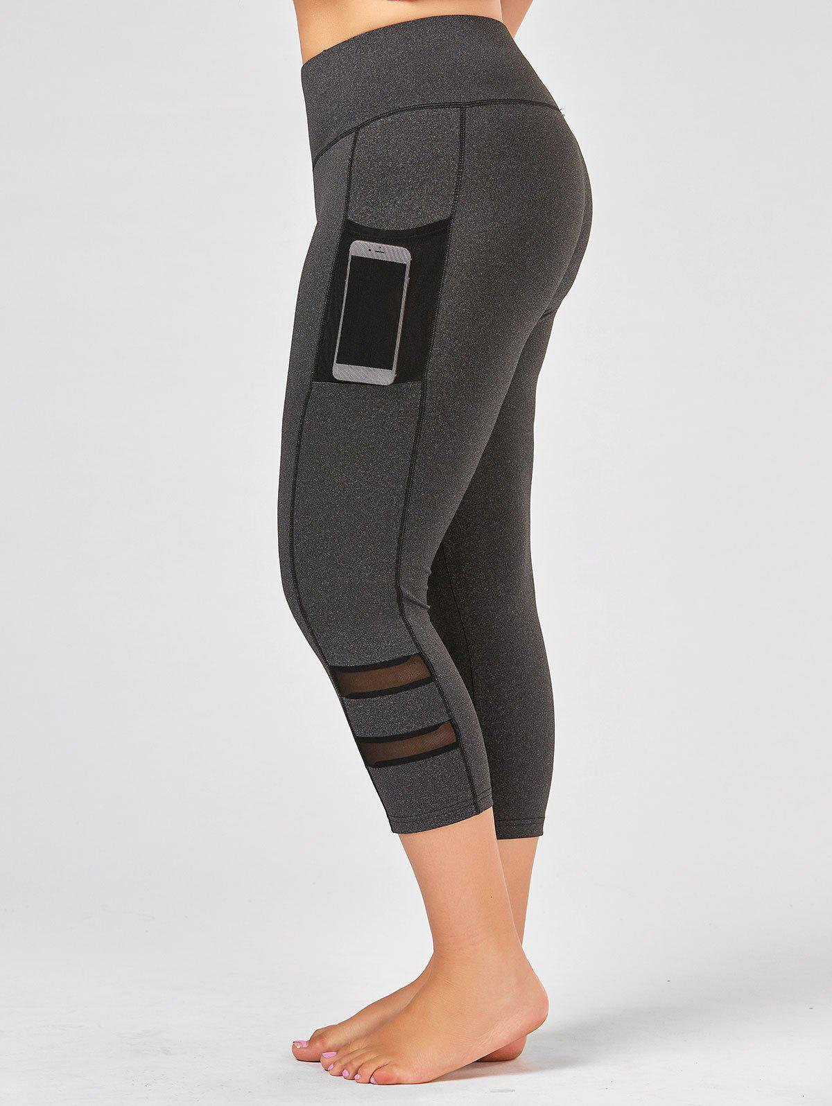 Gray 2xl Plus Size High Waist Fitness Leggings With Mesh