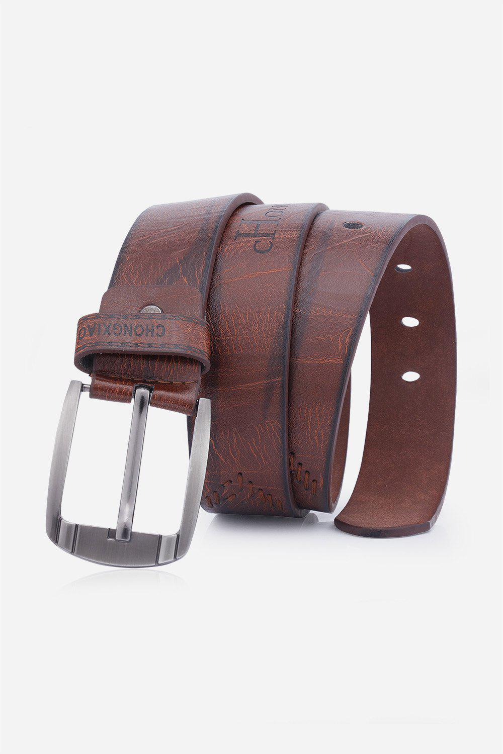 Hot Artificial Leather Holes Embroidery Pin Buckle Belt