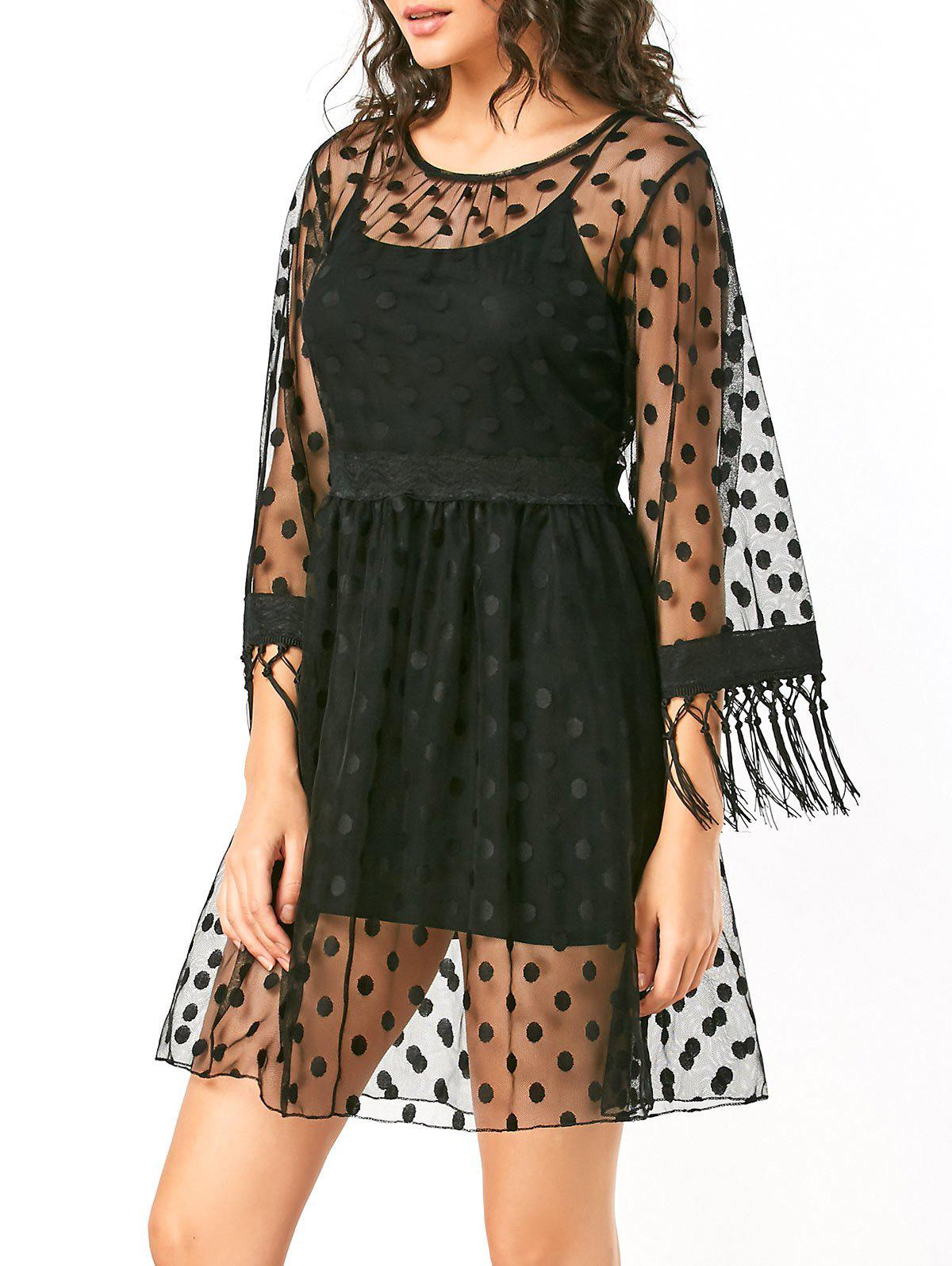 Cheap Polka Dot High Waist Sheer Lace Dress