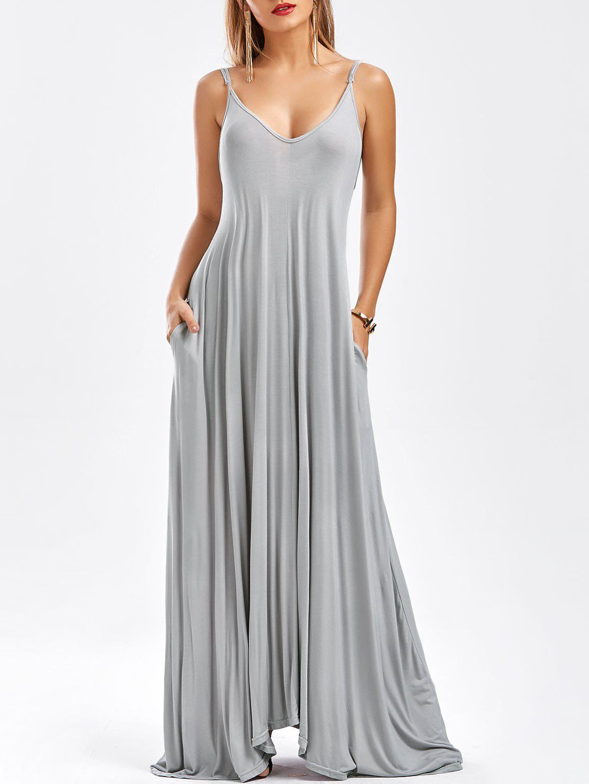 2018 Pockets Long Maxi Slip Dress In Light Gray Xl | Rosegal.com