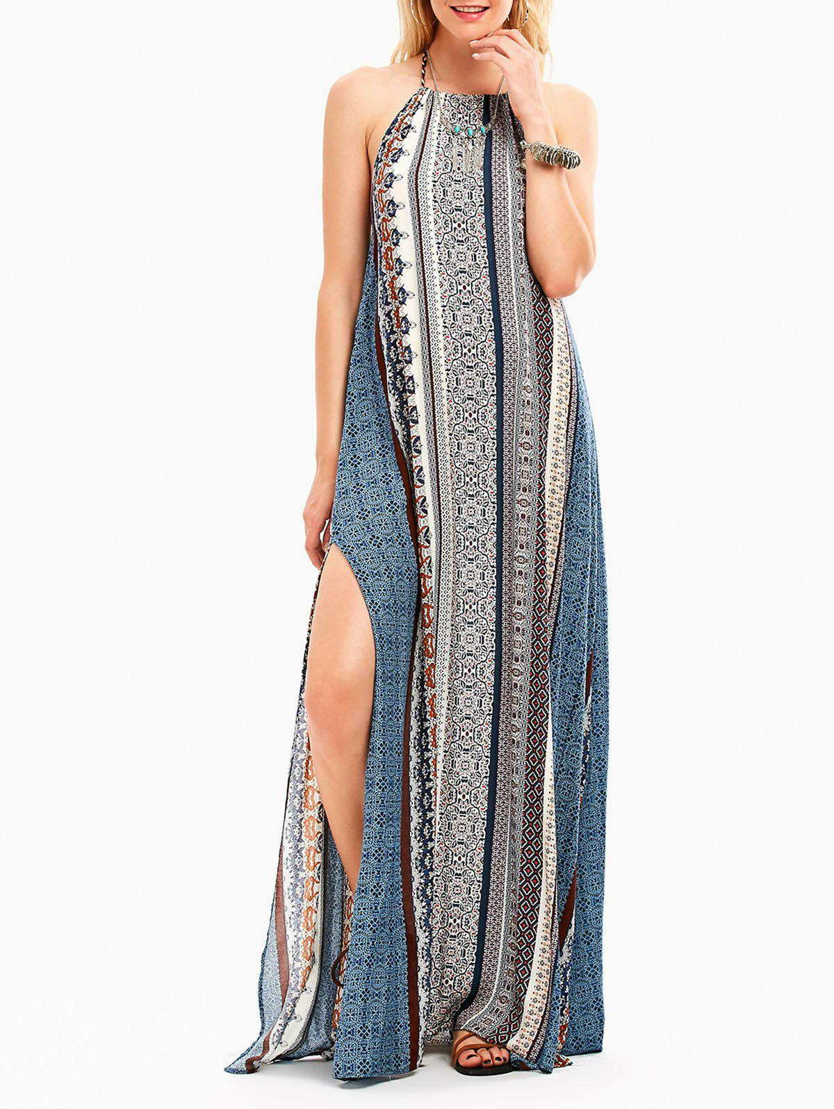 Outfits High Slit Halter Backless Maxi Boho Dress