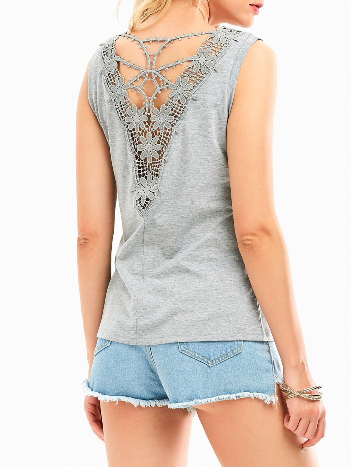 Cheap Hollow Out Lace Insert Tank Top
