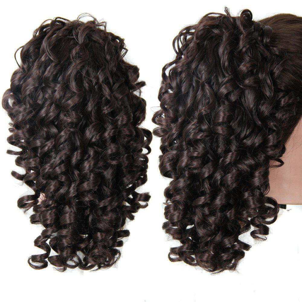 Shaggy Medium Kinky Curly Ponytail Hair PiecesHAIR<br><br>Color: BLACK AND BROWN; Style: Ponytails; Type: Clip-In/On; Hairstyling: Curly; Fabric: Synthetic Hair; Length: Medium; Weight: 0.1700kg; Package Contents: 1 x Hair Pieces; Length Size(Inch): 12;