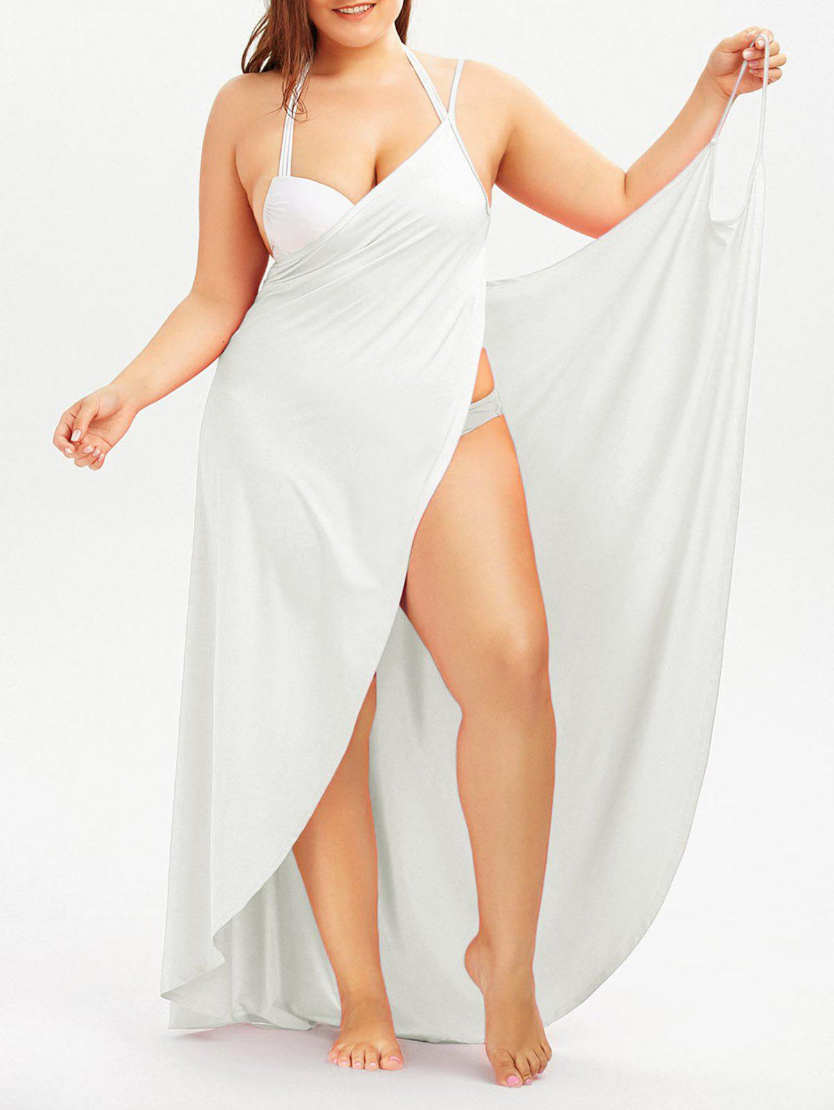 Plus Size Cover Up Beach Wrap DressWOMEN<br><br>Size: 5XL; Color: WHITE; Style: Casual; Material: Polyester,Spandex; Silhouette: Beach; Dresses Length: Floor-Length; Neckline: Spaghetti Strap; Sleeve Length: Sleeveless; Waist: Natural; Pattern Type: Solid Color; Elasticity: Elastic; With Belt: No; Season: Summer; Weight: 0.4100kg; Package Contents: 1 x Dress;