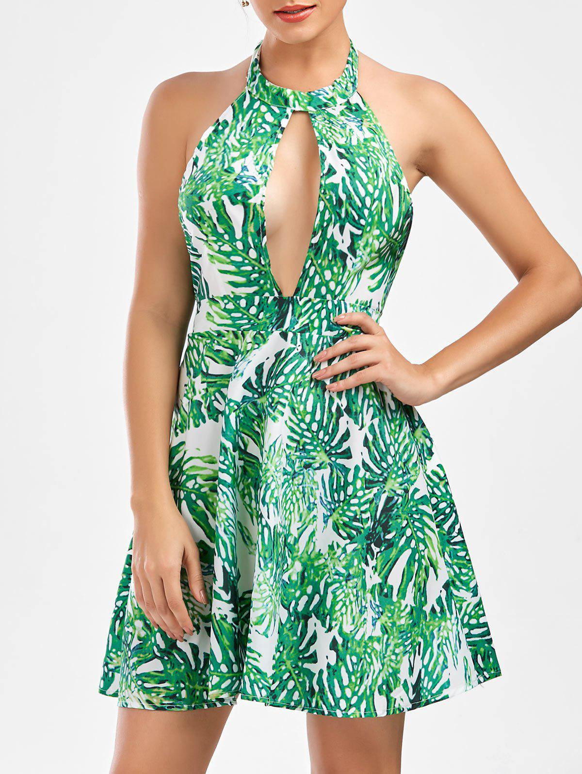 Cheap Leaf Print Halter Neck Backless Summer Dress