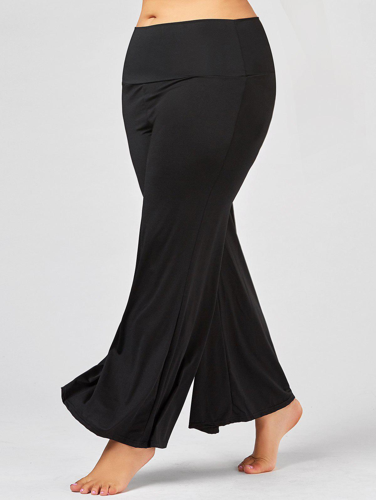 Plus Size Maxi High Rise Palazzo PantsWOMEN<br><br>Size: XL; Color: BLACK; Style: Fashion; Length: Overlength; Material: Cotton,Polyester; Fit Type: Loose; Waist Type: High; Closure Type: Elastic Waist; Pattern Type: Solid; Pant Style: Wide Leg Pants; Elasticity: Elastic; Weight: 0.2900kg; Package Contents: 1 x Pants;
