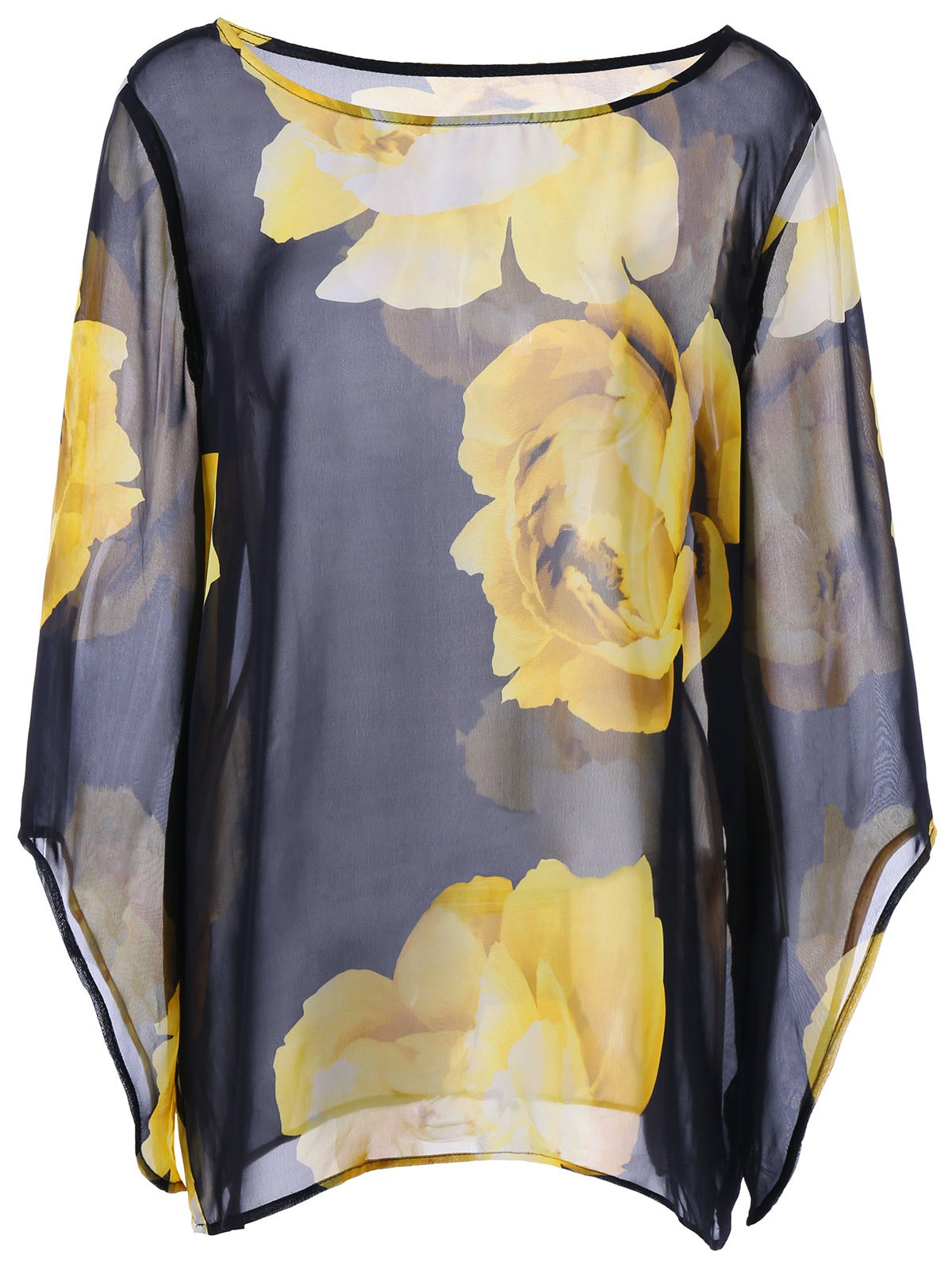 Floral Sheer Batwing Plus Size TopWOMEN<br><br>Size: 4XL; Color: COLORMIX; Material: Polyester; Shirt Length: Regular; Sleeve Length: Three Quarter; Collar: Round Neck; Style: Fashion; Season: Summer; Sleeve Type: Batwing Sleeve; Pattern Type: Floral; Weight: 0.1600kg; Package Contents: 1 x Top;
